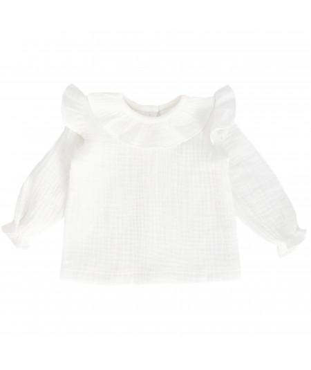 Biała koszula muślinowa z falbankami