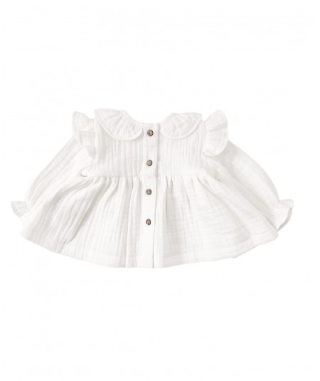 Koszula muślinowa z falbankami - biała OSTATNIE SZTUKI