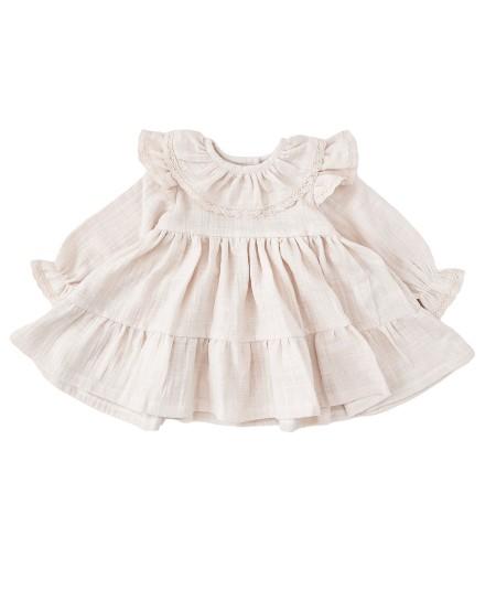 Sukienka z koronką z muślinu -beżowa