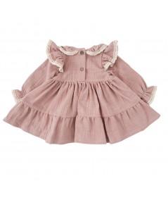 Sukienka z koronką z muślinu-różowa