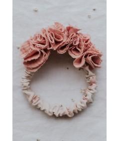 Opaska muślinowa z kwiatów- roż